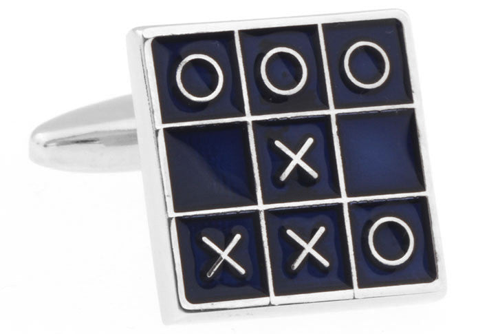 Blue Novelty Cufflinks - Tic Tac Toe