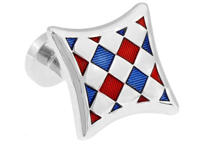 Classic Cufflinks - Red and Blue Retro Hipster Cufflinks - Checkered - The Little Link