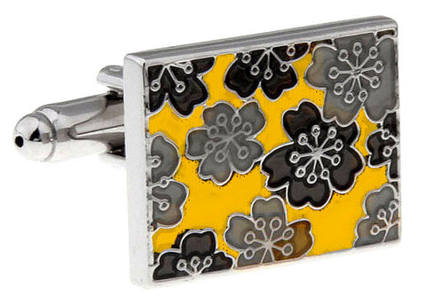 Yellow and Black Flower Cufflinks - Sunshine