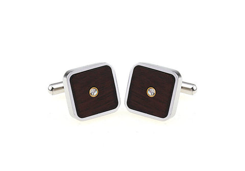 Silver and Wood Square Crystal Cufflinks