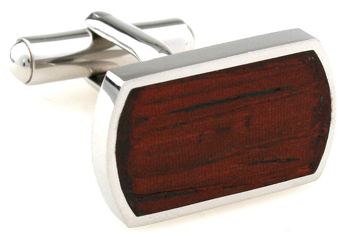 Silver and Red Wood Cufflinks - Woodstruck