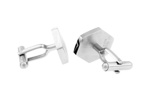 Silver and Black Classic Cufflinks - Webbed