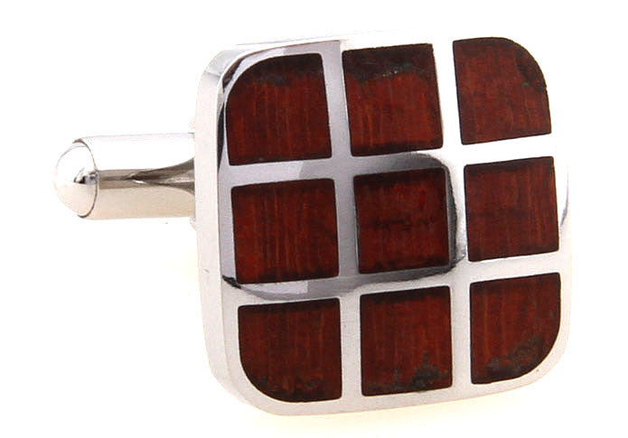 SIlver and Red Wood Square Classic Cufflinks - Wood Tic Tac Toe