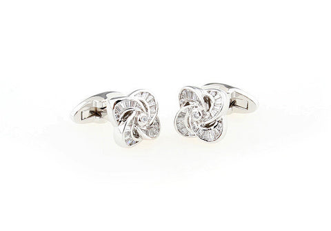 Silver and White Crystal Knot Cufflinks - Rise