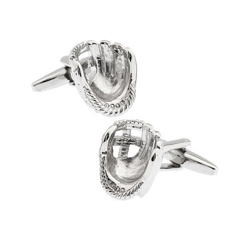 Silver Sports Baseball Cufflinks - Pitcher