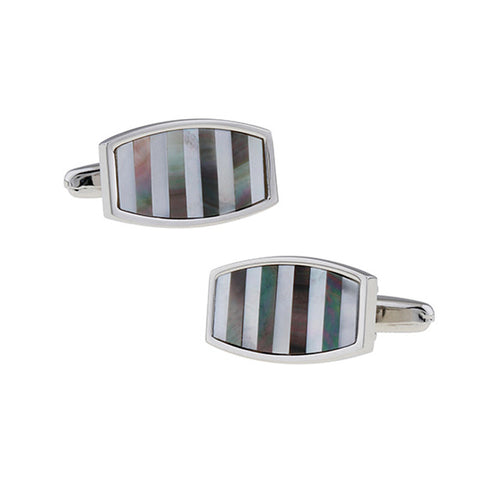 Grey Pearl Stripe Cufflinks - Da Vinci