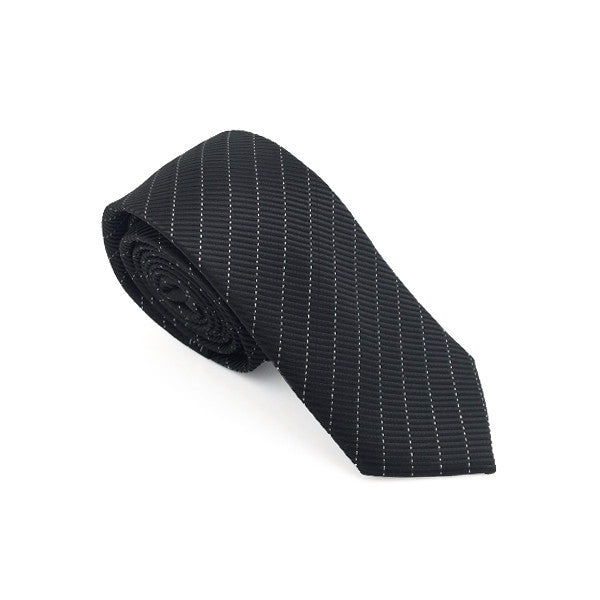 Ties - Black and Silver Stripe Skinny Tie - Cooper - The Little Link