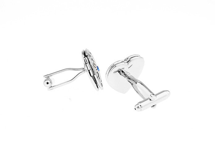 Customized Cufflinks - Silver Heart Crystal Cufflinks - All of Me - The Little Link