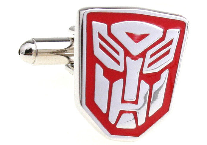 SIlver and Red Superhero Cufflinks - Transformers Autobot (Red)