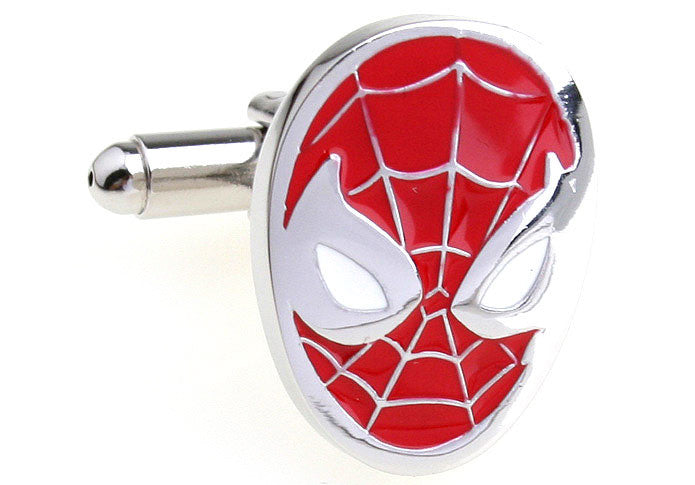 Red Superhero Cufflinks - Spiderman Mask