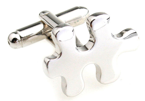 Silver Hipster Cufflinks - Jigsaw Puzzle