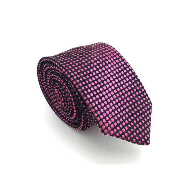 Black and Pink Polka Dot Tie - Kaden