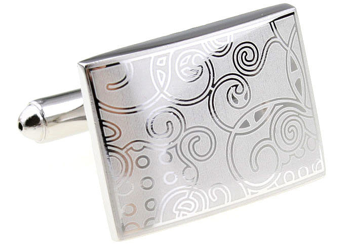 Silver Rectangle Crystal Cufflinks - Devil's Fruit