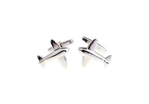 Silver Airplane Novelty Cufflinks - Sky's the Limit