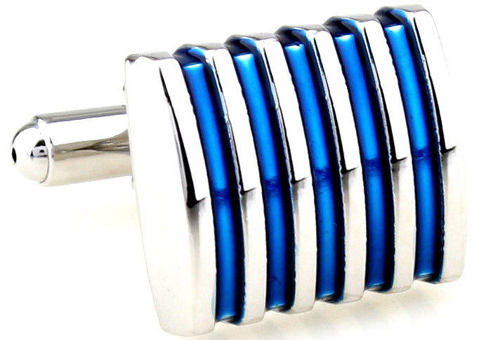 Classic Cufflinks - Silver and Blue Stripe Classic Cufflinks - Blue Laser - The Little Link