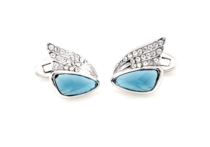 Silver and Blue Crystal Cufflinks - Sapphire Wings