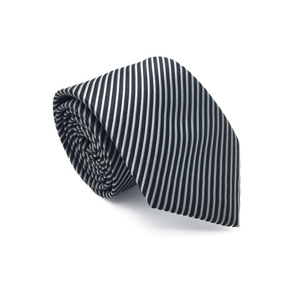 Black and Grey Stripe Tie - Kane