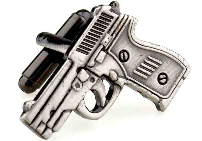 Black Novelty Cufflinks - Pistol