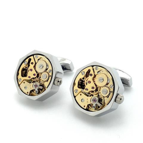 Silver and Gold Tourbillion Watch Movement Cufflinks - Adam