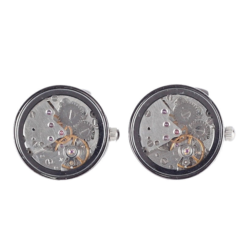 Gunmetal Tourbillion Watch Movement Cufflinks - Atlee