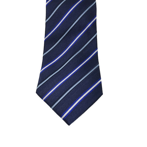 Blue Strip Silk Tie - Avery