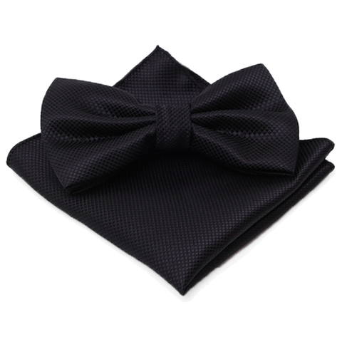 Black Textured Satin Bow Tie and Pocket Square Box Set - Gibson