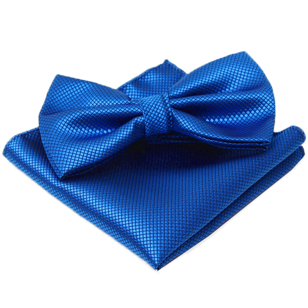 Blue Textured Satin Bow Tie and Pocket Square Box Set - Julian