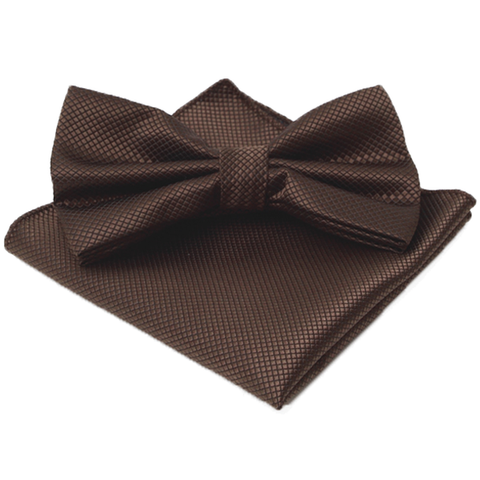 Bowties - Brown Textured Satin Bowtie and Pocket Square Box Set - Austin - The Little Link