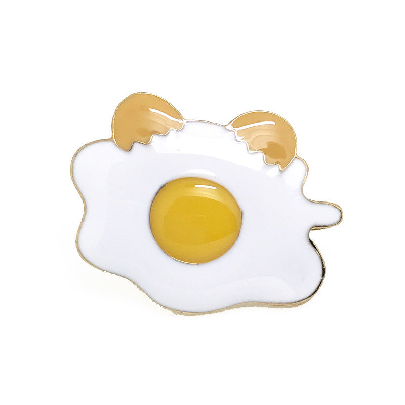 White and Yellow Food Lapel Pin Boutonniere - Sunny Side Up