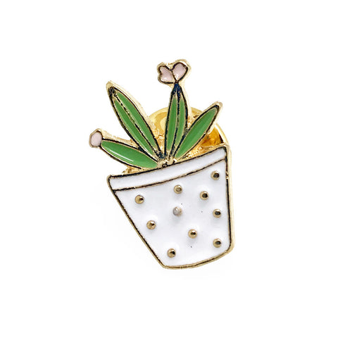 White and Green Novelty Lapel Pin Boutonniere - Potted Plant