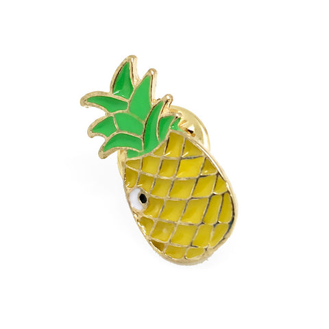 Yellow Novelty Food Lapel Pin Boutonniere - Pineapple