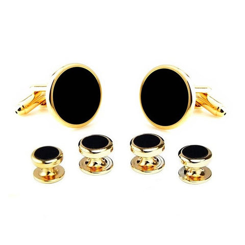 Black and Gold Round Tuxedo Studs - Marlene