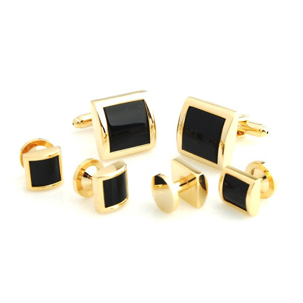 Black and Gold Square Tuxedo Studs - Owens