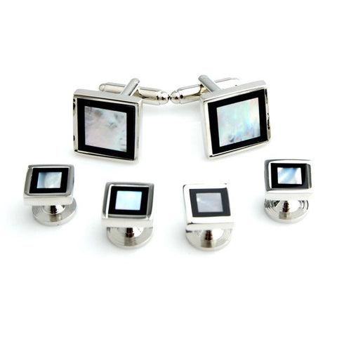 Silver and Black Square Mother of Pearl Tuxedo Studs - Blyton