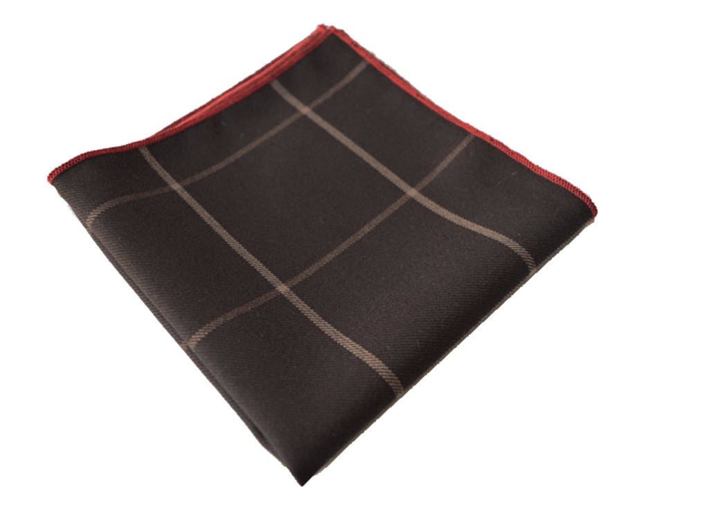 Brown Checkered Wool Pocket Square - Jersey