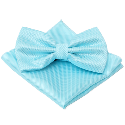 Bright Blue Textured Satin Bow Tie and Pocket Square Box Set - Jaxon