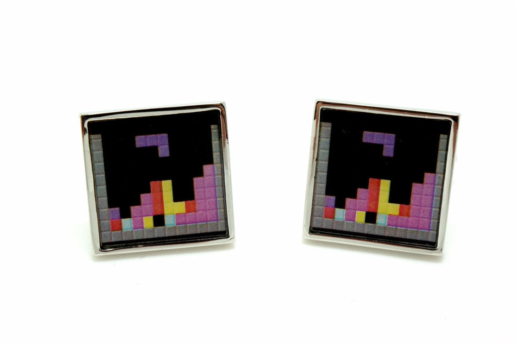 Black Novelty Game Cufflinks - Tetris