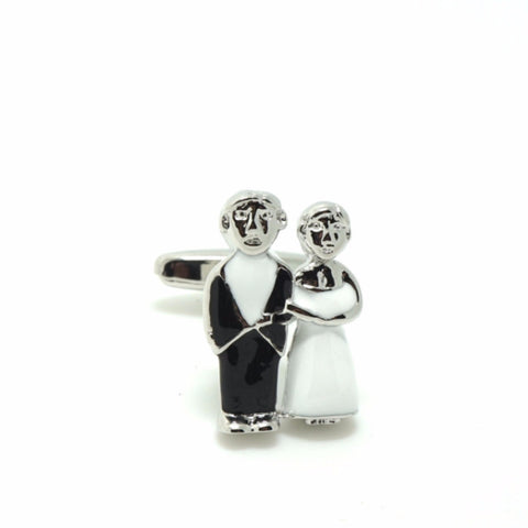 Black and White Wedding Cufflinks - Happily Ever After