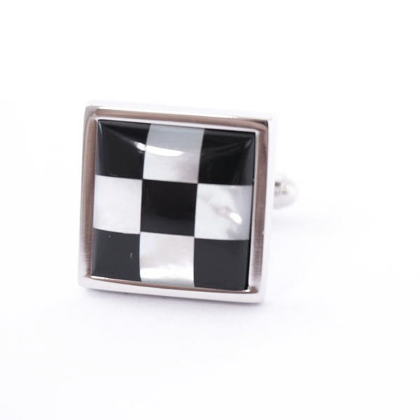 Black Square Pearl Cufflinks - Pearl Chequers