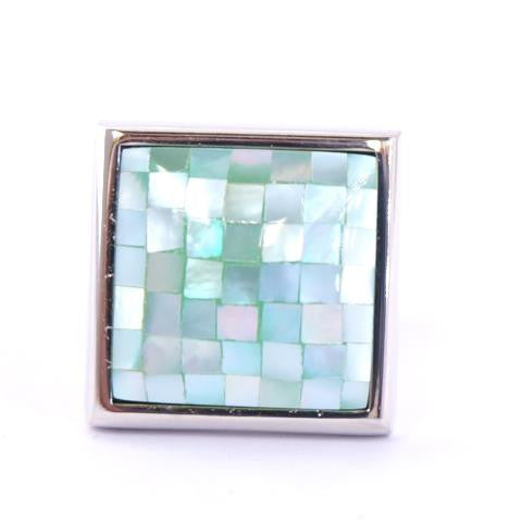 Blue Square Pearl Cufflinks - King of the Sea