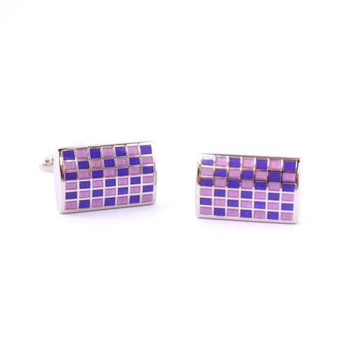 Purple Rectangle Classic Cufflinks - Purple Mosaic