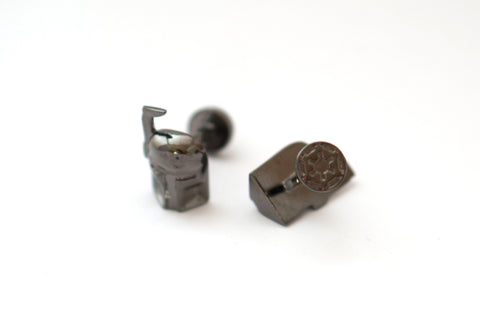 Novelty Cufflinks - Black Superhero Cufflinks - Boba Fett (Dark) - The Little Link