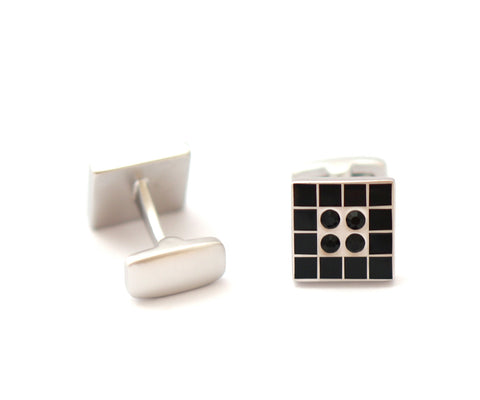 Silver and Black Classic Cufflinks - Square Room