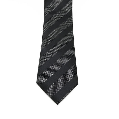 Black and Silver Stripe Skinny Tie - Dale