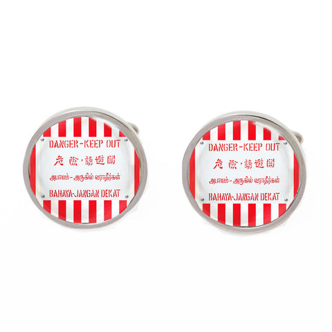 Red Novelty Singapore Cufflinks - Danger Keep Out