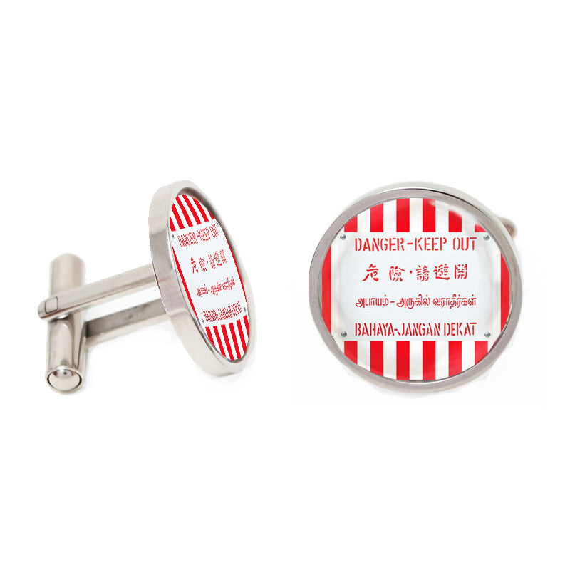 Novelty Cufflinks - Danger - Keep Out - The Little Link