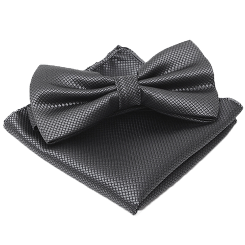 Dark Grey Textured Satin Bow Tie and Pocket Square Box Set - Greyson