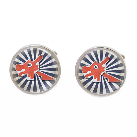 Blue and Orange Novelty Singapore Cufflinks - Dragon Playground