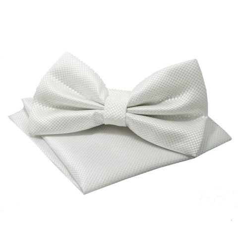 White Textured Satin Bowtie and Pocket Square Set - Edmund