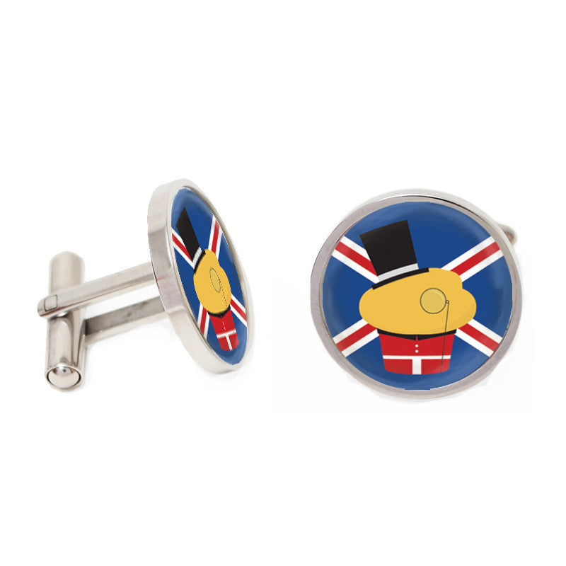Blue and Silver Novelty Custom Cufflinks - English Muffin